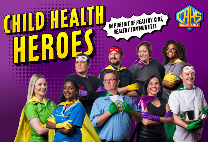CAHS staff dressed as superheroes for CAHS Child Health Heroes